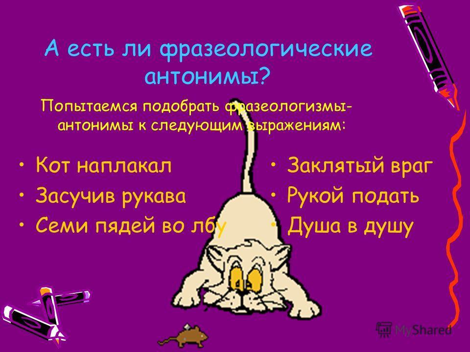 А есть ли фразеологические антонимы? Попытаемся подобрать фразеологизмы- антонимы к следующим выражениям: Кот наплакал Засучив рукава Семи пядей во лбу Заклятый враг Рукой подать Душа в душу