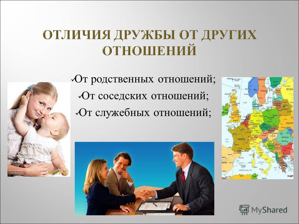 От родственных отношений ; От соседских отношений ; От служебных отношений ;