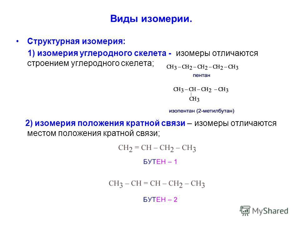 Виды изомерии. Структурная изомерия: 1) изомерия углеродного скелета - изомеры отличаются строением углеродного скелета; 2) изомерия положения кратной связи – изомеры отличаются местом положения кратной связи;