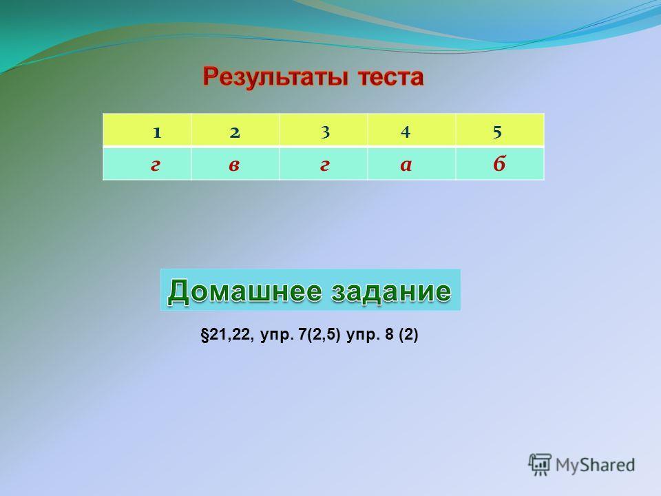1 2 3 4 5 г в г а б §21,22, упр. 7(2,5) упр. 8 (2)