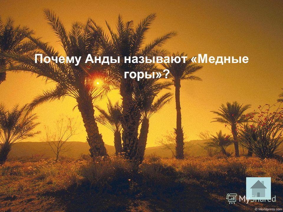 Почему Анды называют «Медные горы»?
