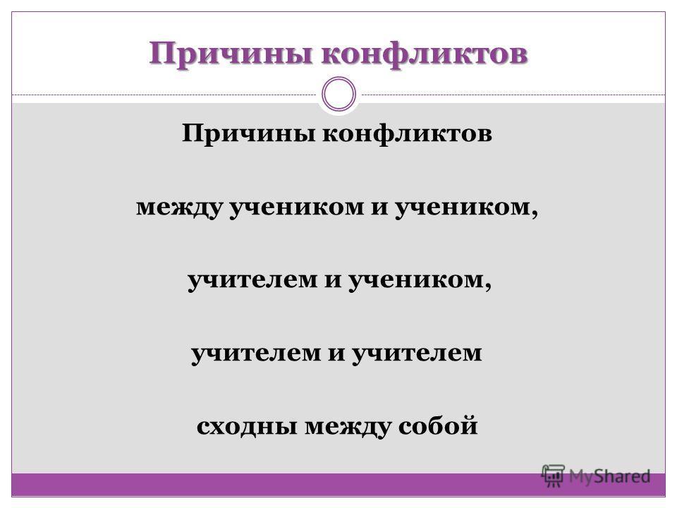 Причины конфликтов между учеником и учеником, учителем и учеником, учителем и учителем сходны между собой