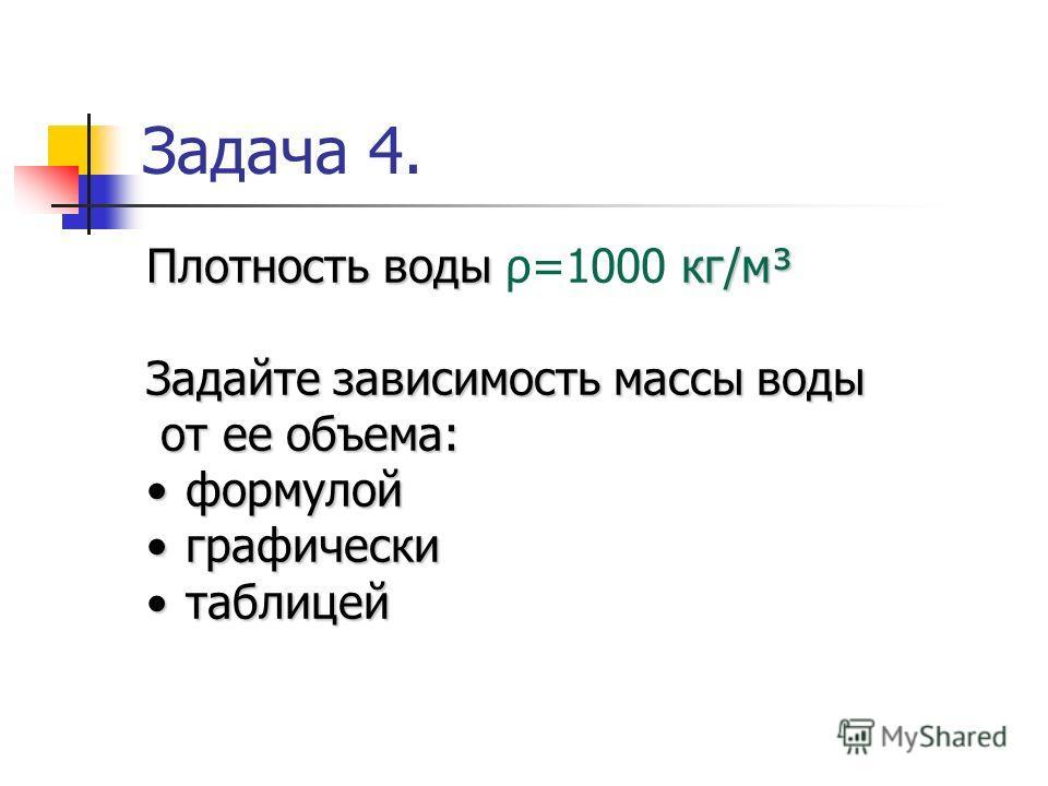 Задача 4. Плотность воды кг/м³ Плотность воды ρ=1000 кг/м³ Задайте зависимость массы воды от ее объема: от ее объема: формулойформулой графическиграфически таблицейтаблицей