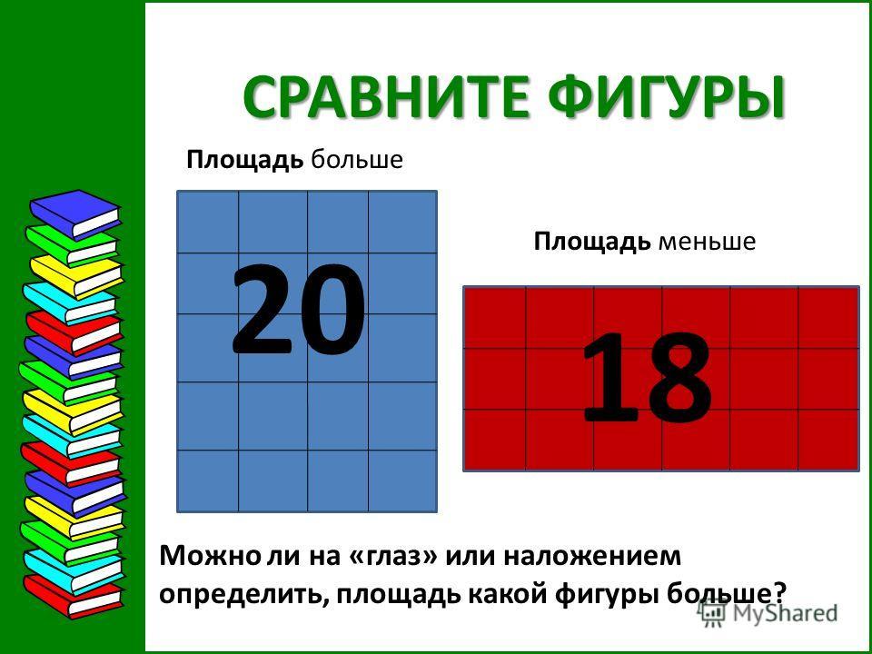 СРАВНИТЕ ФИГУРЫ Можно ли на «глаз» или наложением определить, площадь какой фигуры больше? 20 18 Площадь больше Площадь меньше