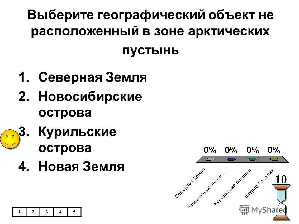 Выберите географический объект не расположенный в зоне арктических пустынь 1.Северная Земля 2.Новосибирские острова 3.Курильские острова 4.Новая Земля 10 12345