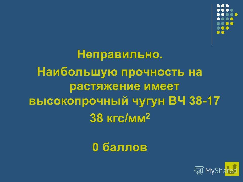 Неправильно. Наибольшую прочность на растяжение имеет высокопрочный чугун ВЧ 38-17 38 кгс/мм 2 0 баллов