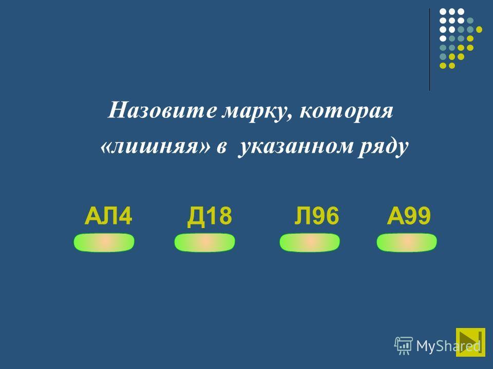 Назовите марку, которая «лишняя» в указанном ряду АЛ4 Д18 Л96 А99