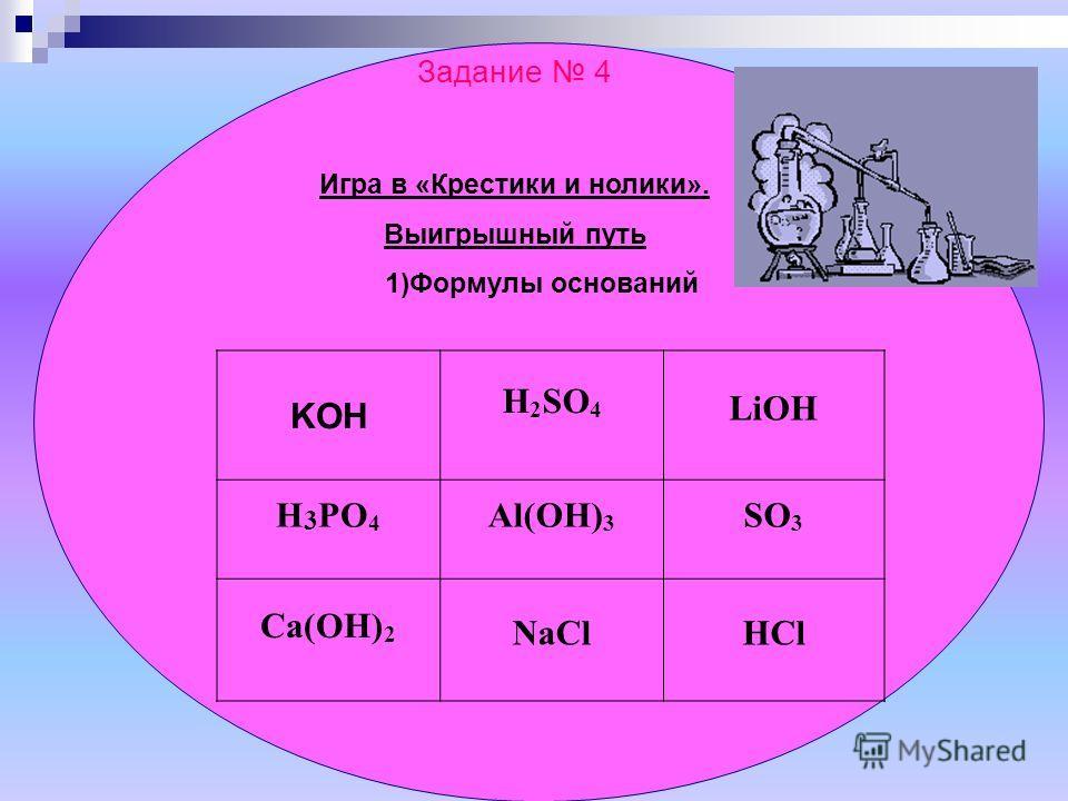 Задание 4 Игра в «Крестики и нолики». Выигрышный путь 1)Формулы оснований KOH H 2 SO 4 LiOH H 3 PO 4 Al(OH) 3 SO 3 Ca(OH) 2 NaClHCl
