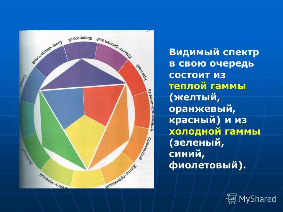 Видимый спектр в свою очередь состоит из теплой гаммы (желтый, оранжевый, красный) и из холодной гаммы (зеленый, синий, фиолетовый).