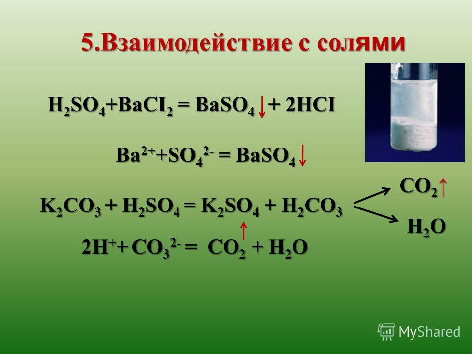 H 2 SO 4 +BaCI 2 = BaSO 4 + 2HCI Ba 2+ +SO 4 2- = BaSO 4 Ba 2+ +SO 4 2- = BaSO 4 K 2 CO 3 + H 2 SO 4 = K 2 SO 4 + H 2 CO 3 2H + + CO 3 2- = CO 2 + H 2 O 2H + + CO 3 2- = CO 2 + H 2 O 5.Взаимодействие с сол ями CO 2 CO 2 H2OH2OH2OH2O