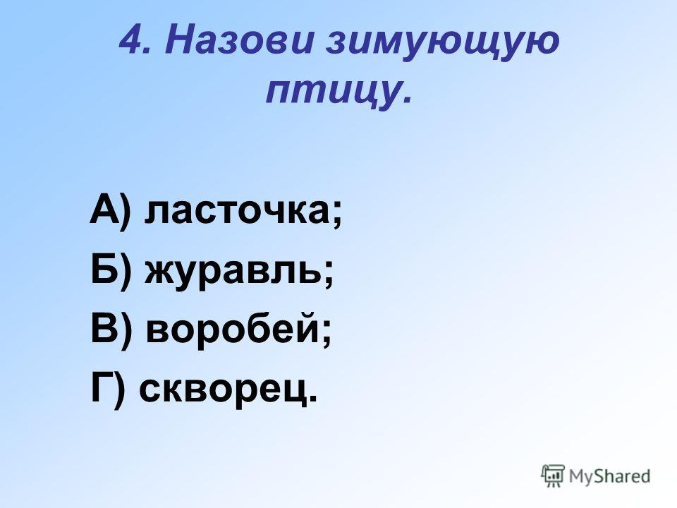 4. Назови зимующую птицу. А) ласточка; Б) журавль; В) воробей; Г) скворец.