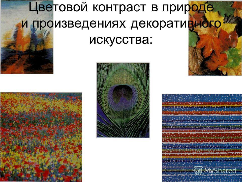 Цветовой контраст в природе и произведениях декоративного искусства: