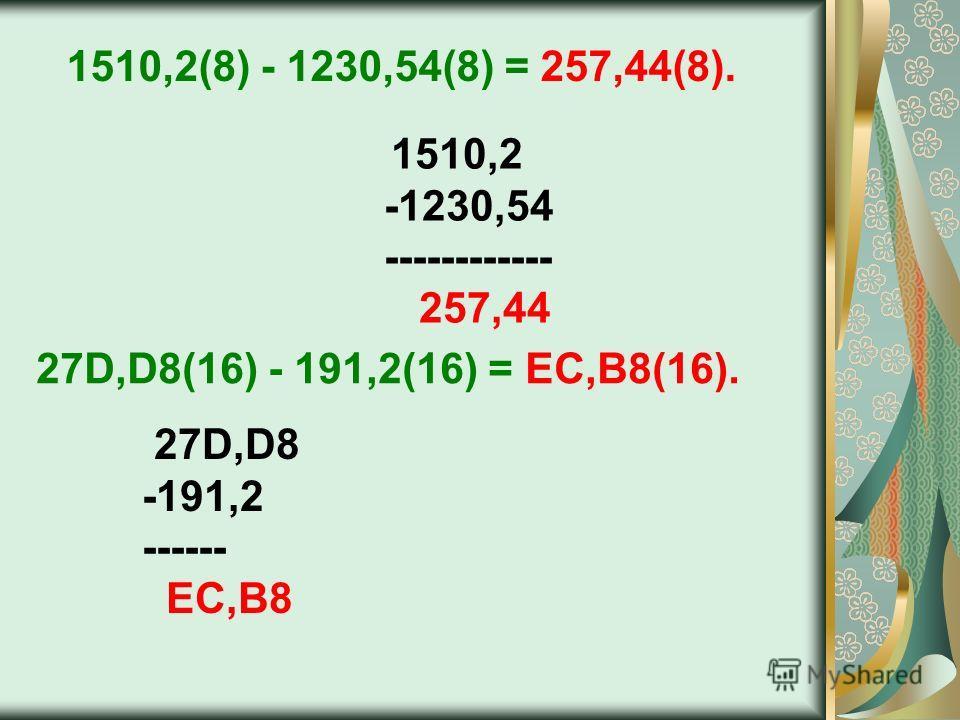 27D,D8 -191,2 ------ EC,B8 1510,2(8) - 1230,54(8) = 257,44(8). 1510,2 -1230,54 ------------ 257,44 27D,D8(16) - 191,2(16) = EC,B8(16).