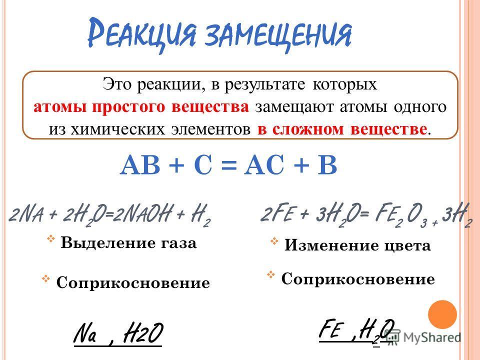 Р ЕАКЦИЯ РАЗЛОЖЕНИЯ Это реакции, в результате которых из одного сложного вещества образуется два и более простых или сложных веществ. Свечение, изменение цвета ( NH 4 ) 2 C R 2 O 7 = N2 + C R 2 O 3 + 4H 2 O АВ = А + В Нагревание ( NH 4 ) 2 C R 2 O 7,