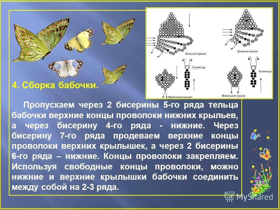 4. Сборка бабочки. Пропускаем через 2 бисерины 5- го ряда тельца бабочки верхние концы проволоки нижних крыльев, а через бисерину 4- го ряда - нижние. Через бисерину 7- го ряда продеваем верхние концы проволоки верхних крылышек, а через 2 бисерины 6-