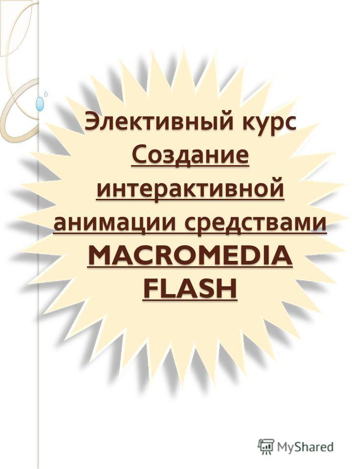 Элективный курс Создание интерактивной анимации средствами MACROMEDIA FLASH