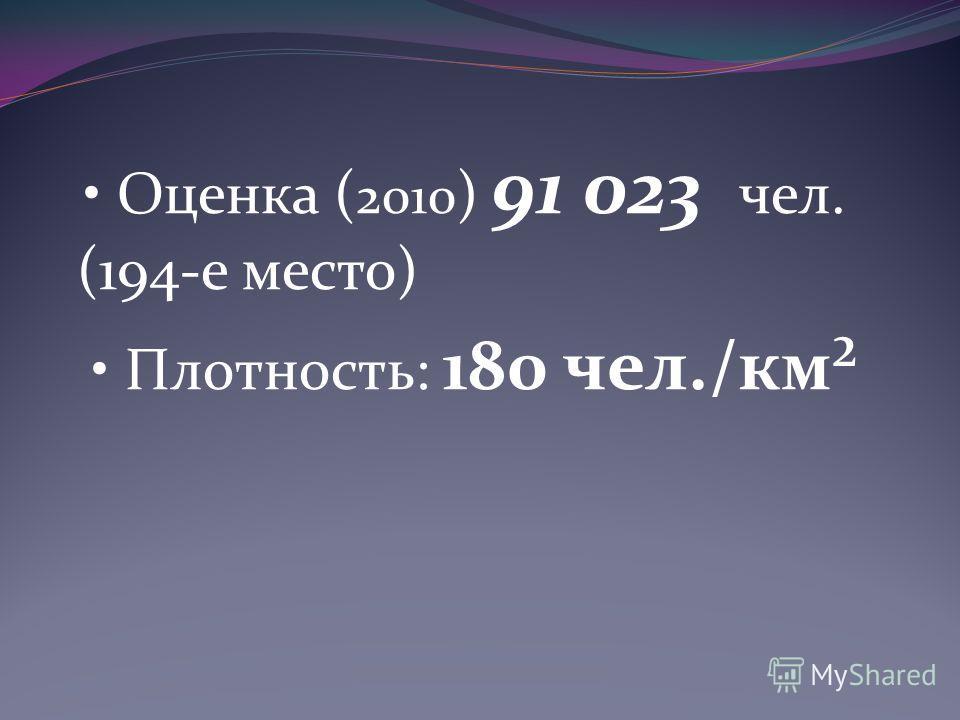 Оценка ( 2010 ) 91 023 чел. (194-е место) Плотность: 180 чел./км²