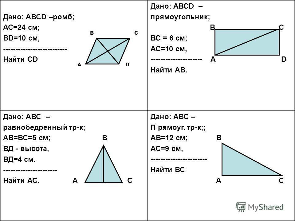 Дано: АВСD –ромб; АС=24 см; ВD=10 см, -------------------------- Найти СD Дано: АВСD – прямоугольник; В С ВС = 6 см; АС=10 см, --------------------- А D Найти АВ. Дано: АВС – равнобедренный тр-к; АВ=ВС=5 см; В ВД - высота, ВД=4 см. ------------------