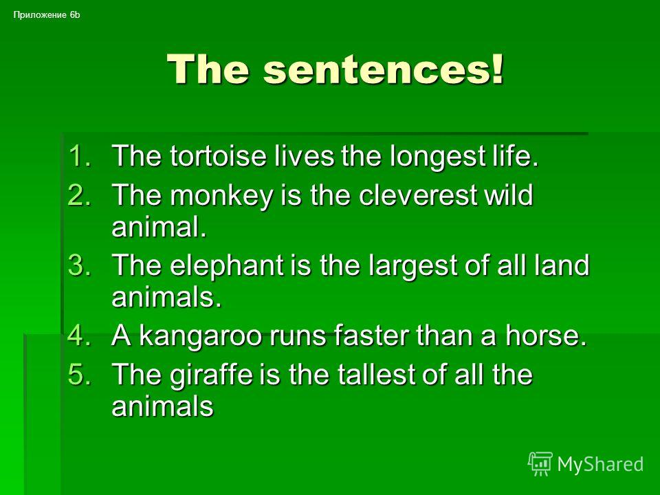 Make up the sentences 1. Lives, the, tortoise, life, longest 2. Is, monkey, the, cleverest, the, animal, wild 3. Elephant, the, is, the, largest of all, animals, land 4. Runs, a, faster, than, kangaroo, a horse 5. Is, the, giraffe, tallest, the anima