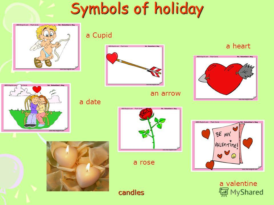Symbols of holiday a heart a valentine a Cupid an arrow a date a rose candles