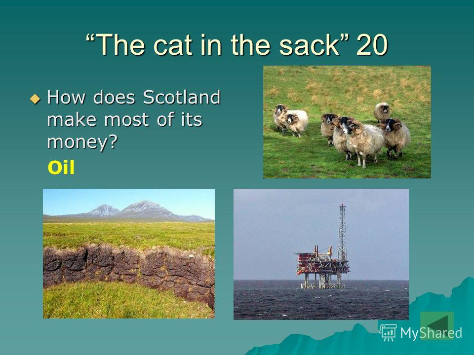 The cat in the sack 20 How does Scotland make most of its money? How does Scotland make most of its money? Oil