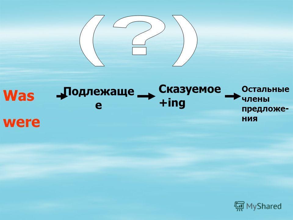 Подлежаще е Was were Сказуемое +ing Остальные члены предложе- ния