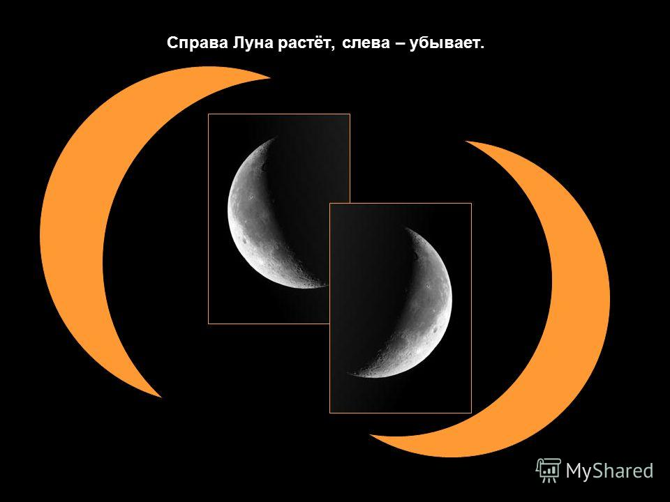Справа Луна растёт, слева – убывает.