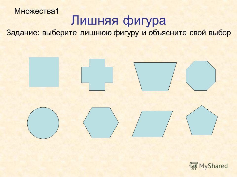 Лишняя фигура Задание: выберите лишнюю фигуру и объясните свой выбор Множества1