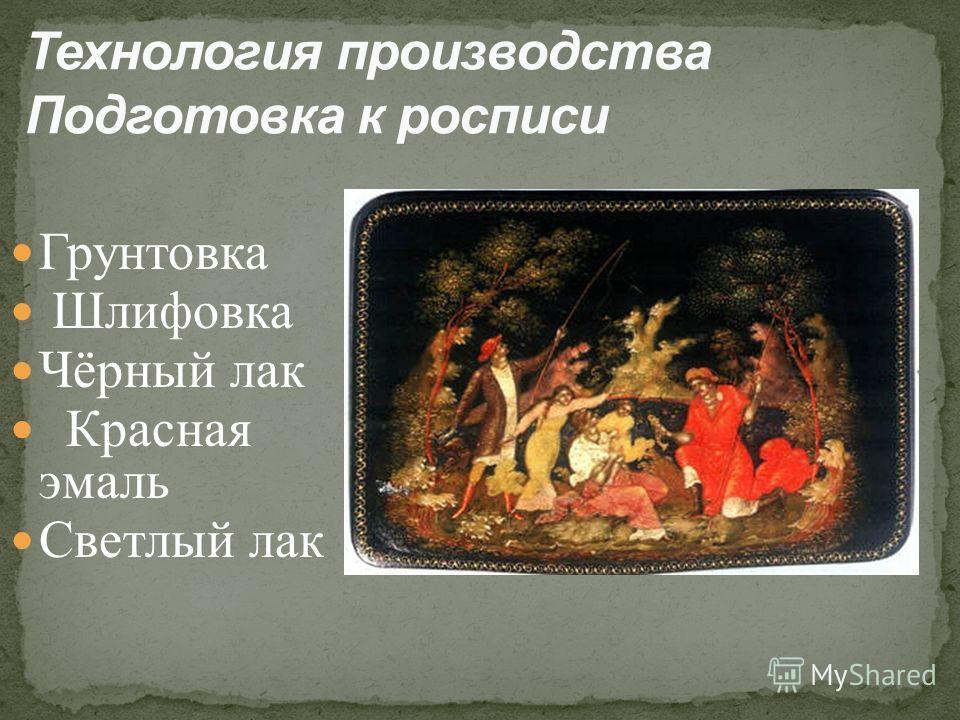 Грунтовка Шлифовка Чёрный лак Красная эмаль Светлый лак