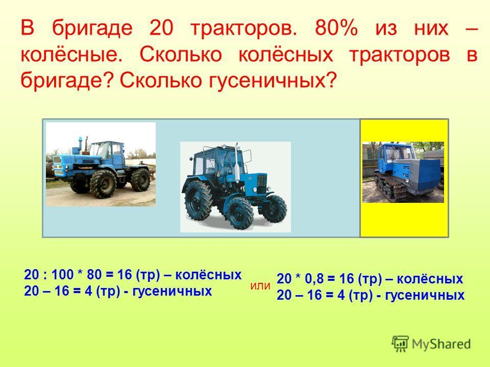 В бригаде 20 тракторов. 80% из них – колёсные. Сколько колёсных тракторов в бригаде? Сколько гусеничных? 20 : 100 * 80 = 16 (тр) – колёсных 20 – 16 = 4 (тр) - гусеничных или 20 * 0,8 = 16 (тр) – колёсных 20 – 16 = 4 (тр) - гусеничных