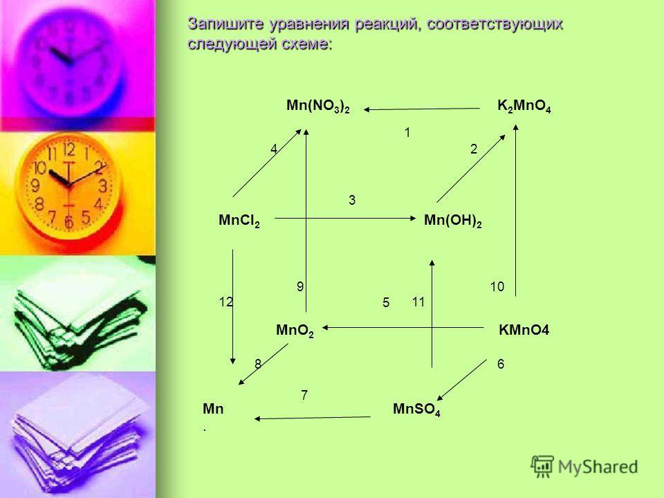 Запишите уравнения реакций, соответствующих следующей схеме: Mn(NO 3 ) 2 K 2 MnO 4 1 4 2 3 MnCl 2 Mn(OH) 2 9 10 5 MnO 2 KMnO4 12 11 8 6 7 Mn MnSO 4.