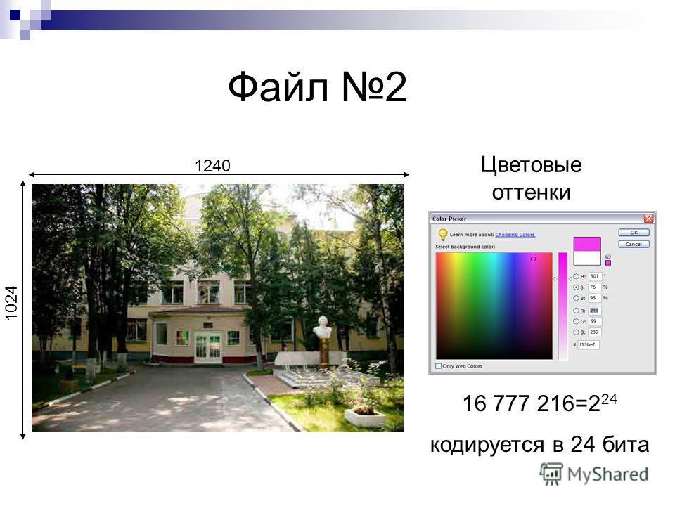 Файл 2 1240 1024 16 777 216=2 24 кодируется в 24 бита Цветовые оттенки