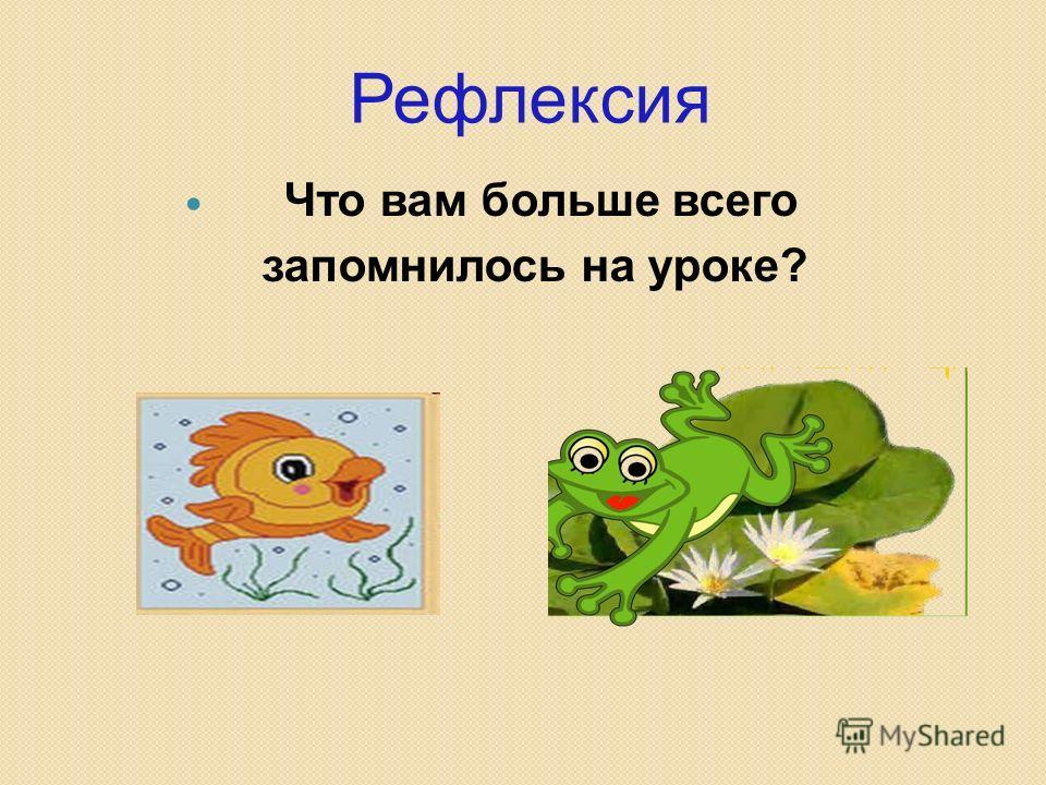 Рефлексия Что вам больше всего запомнилось на уроке?