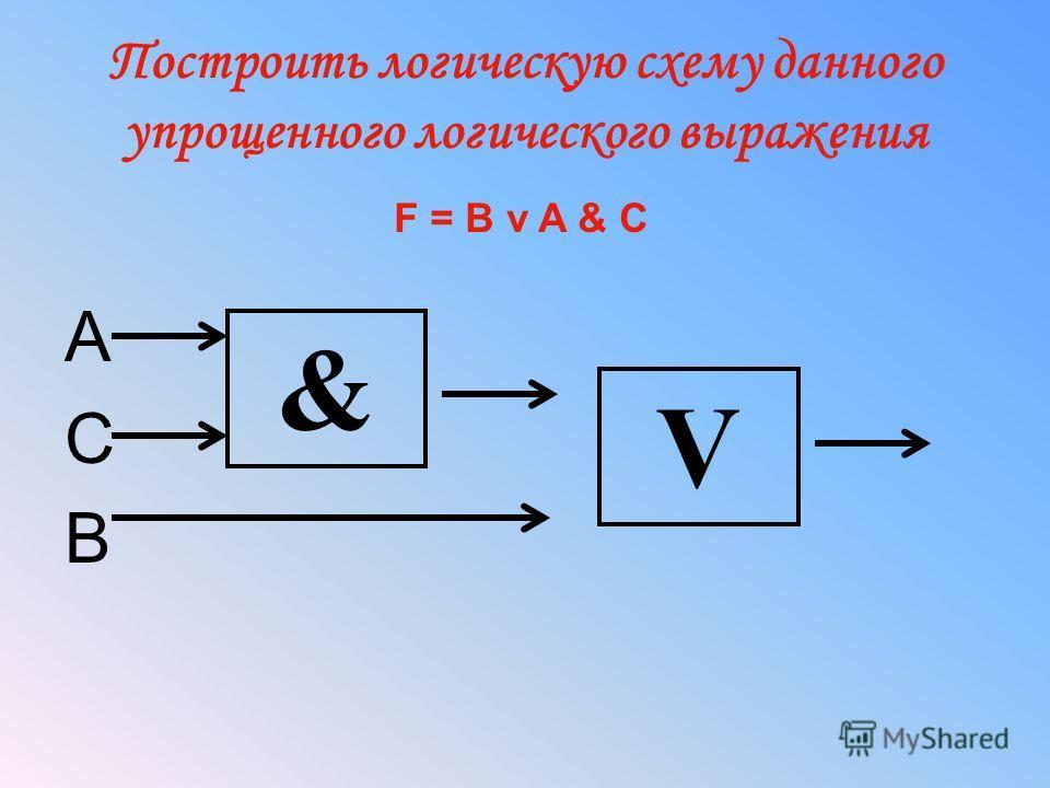 Построить логическую схему данного упрощенного логического выражения A C B V & F = B v A & C