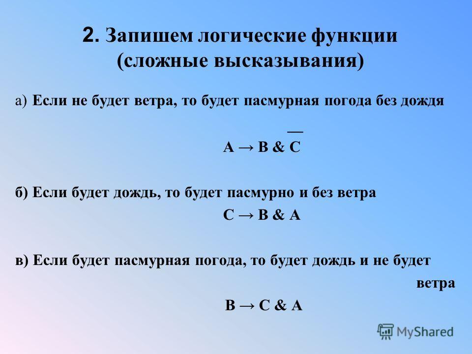 2. Запишем логические функции (сложные высказывания) а) Если не будет ветра, то будет пасмурная погода без дождя __ A B & C б) Если будет дождь, то будет пасмурно и без ветра С B & A в) Если будет пасмурная погода, то будет дождь и не будет ветра B C