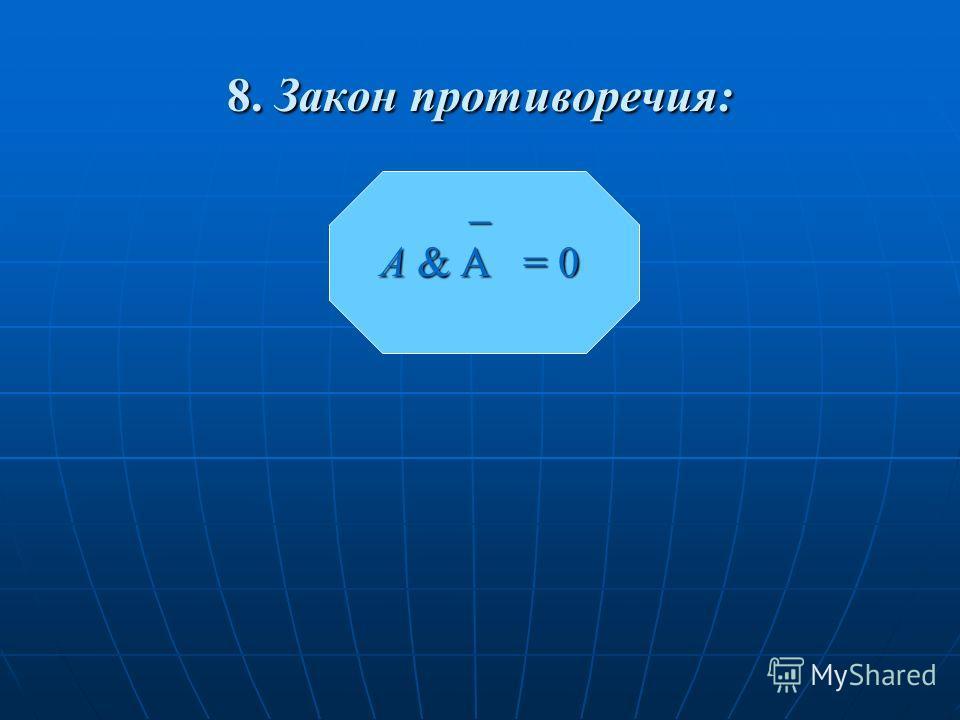 8. Закон противоречия: _ A & A = 0