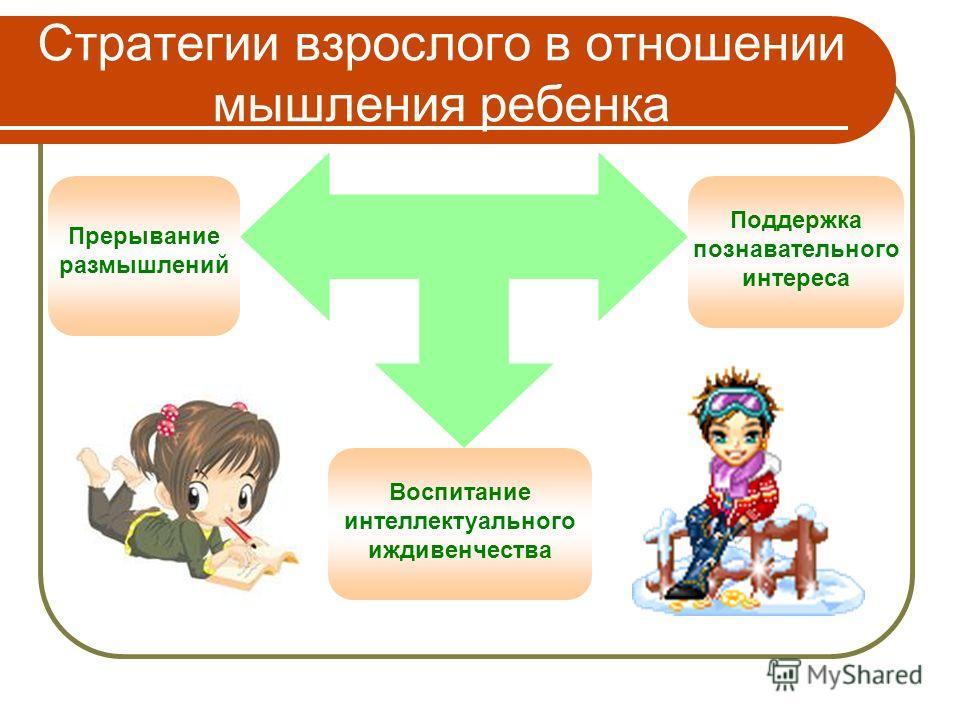 Стратегии взрослого в отношении мышления ребенка Прерывание размышлений Воспитание интеллектуального иждивенчества Поддержка познавательного интереса