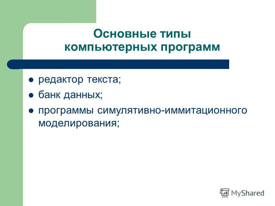 Основные типы компьютерных программ редактор текста; банк данных; программы симулятивно-иммитационного моделирования;