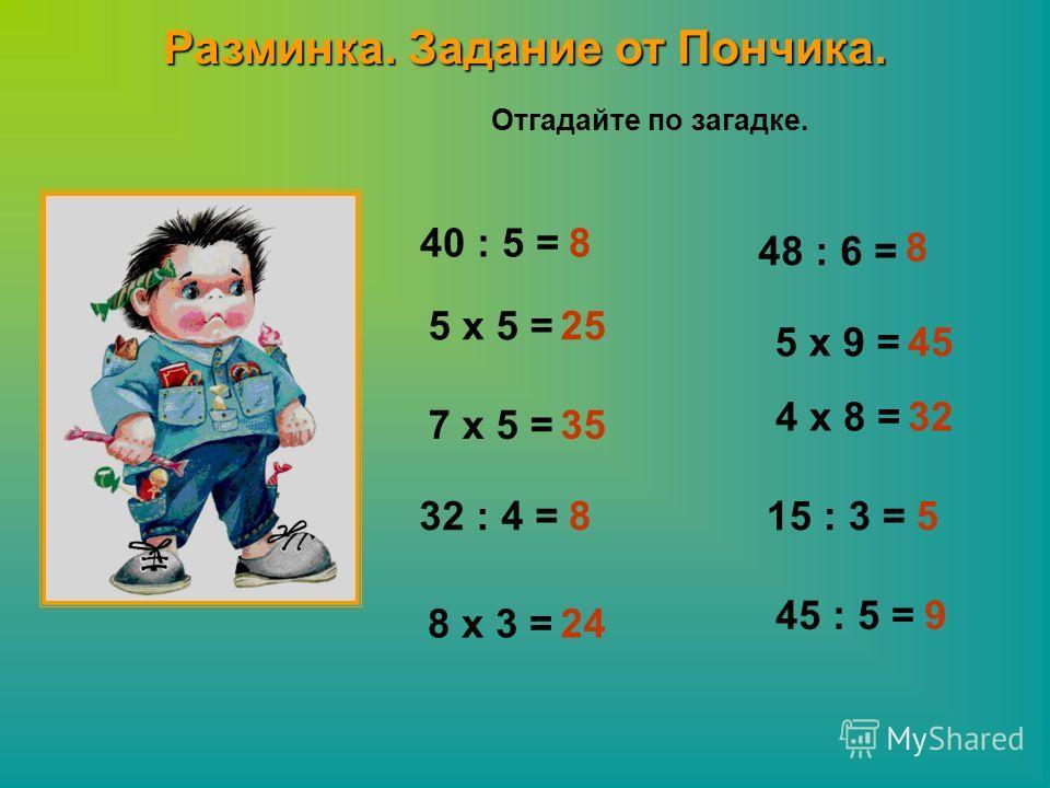 Разминка. Задание от Пончика. Отгадайте по загадке. 40 : 5 = 5 x 5 = 48 : 6 = 5 x 9 = 7 x 5 = 4 x 8 = 32 : 4 =15 : 3 = 8 x 3 = 45 : 5 = 8 25 35 8 24 8 45 32 5 9