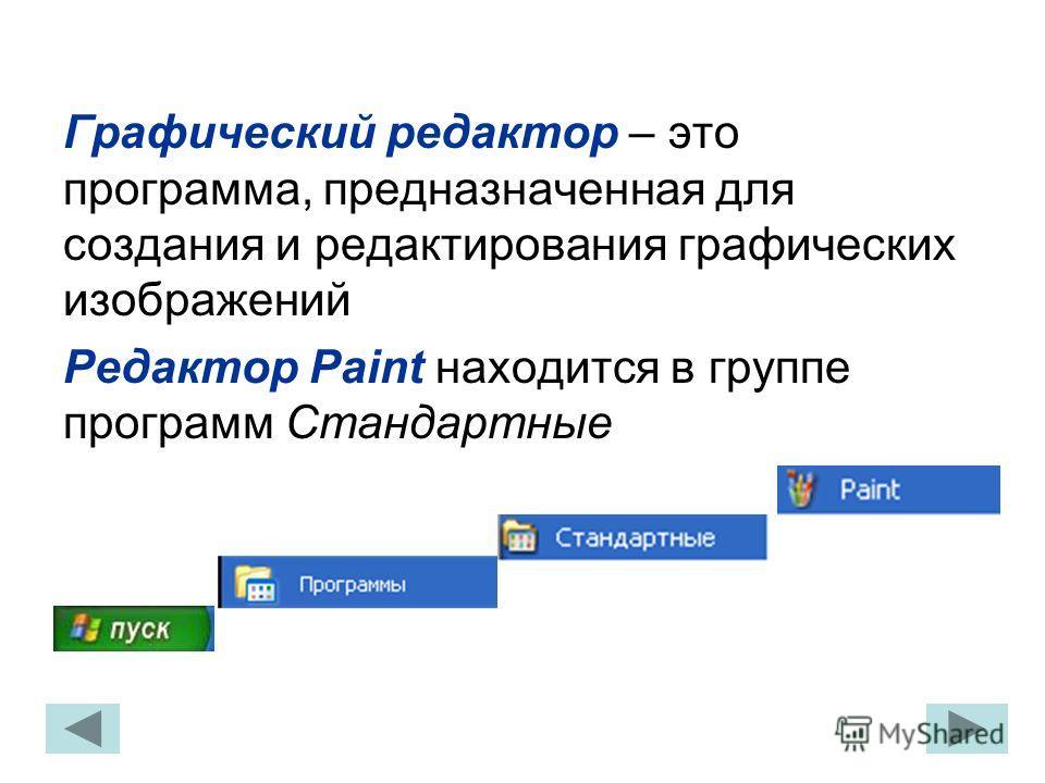 Графический редактор – это программа, предназначенная для создания и редактирования графических изображений Редактор Paint находится в группе программ Стандартные