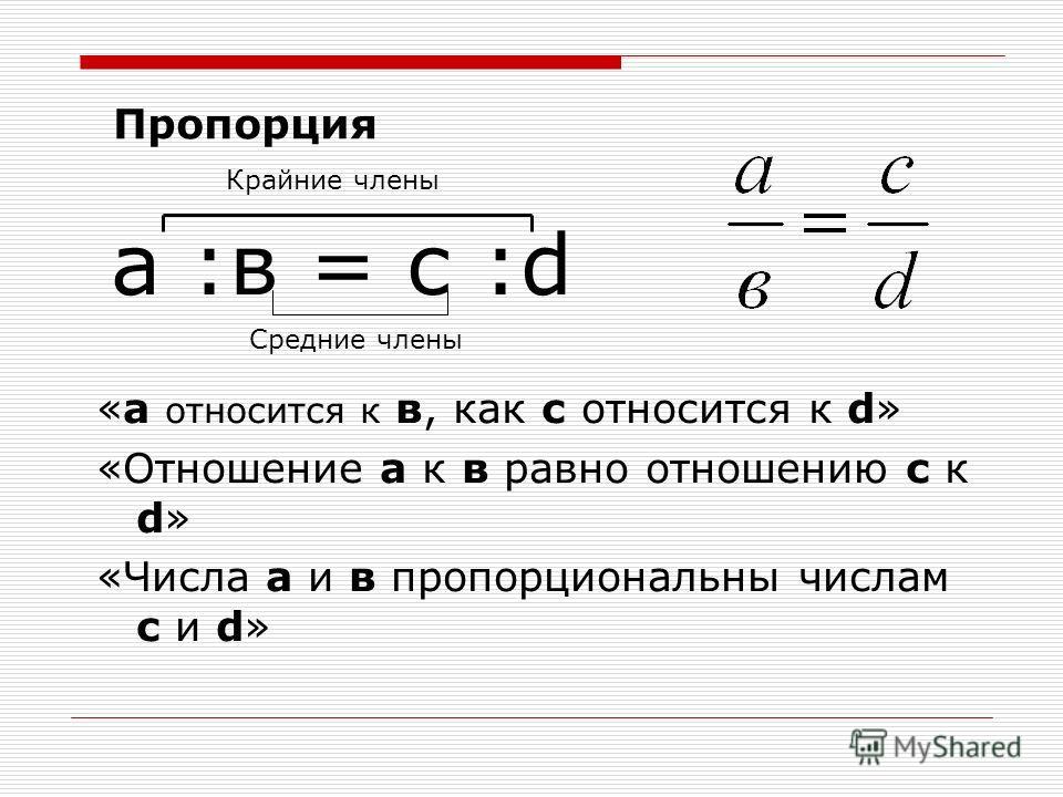а :в = с :d «а относится к в, как с относится к d» «Отношение а к в равно отношению с к d» «Числа а и в пропорциональны числам с и d» Крайние члены Средние члены Пропорция