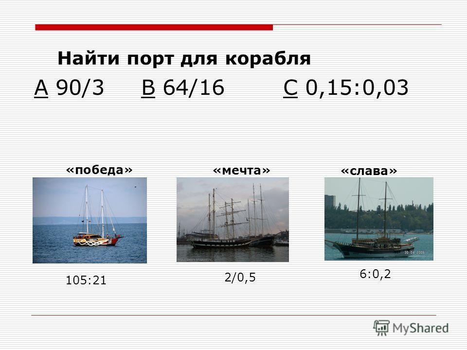 А 90/3 В 64/16 С 0,15:0,03 «победа» «мечта» «слава» 105:21 2/0,5 6:0,2 Найти порт для корабля