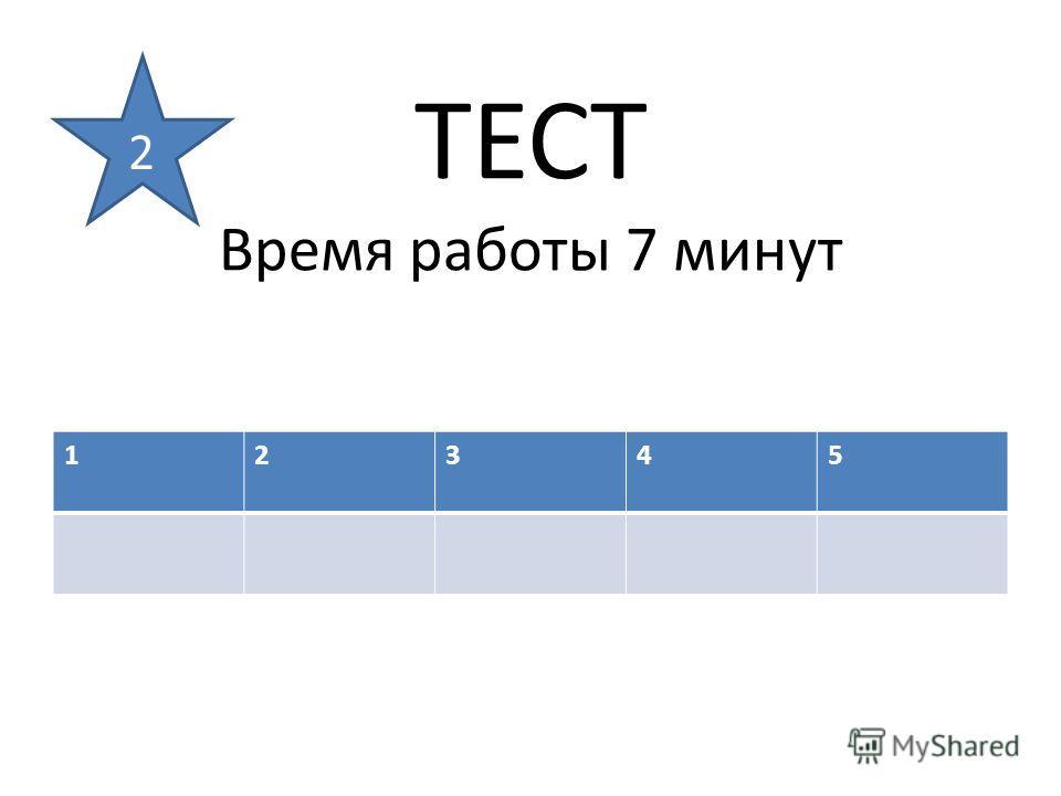 ТЕСТ Время работы 7 минут 12345 2