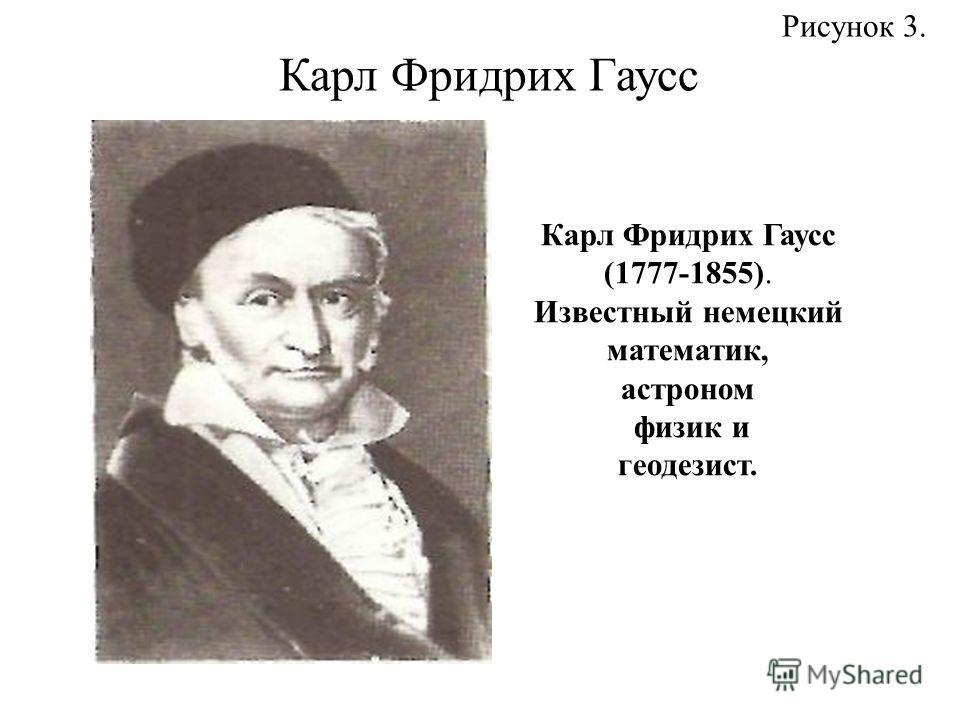 Карл Фридрих Гаусс (1777-1855). Известный немецкий математик, астроном физик и геодезист. Рисунок 3. Карл Фридрих Гаусс