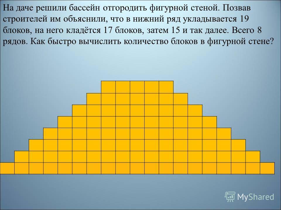 На даче решили бассейн отгородить фигурной стеной. Позвав строителей им объяснили, что в нижний ряд укладывается 19 блоков, на него кладётся 17 блоков, затем 15 и так далее. Всего 8 рядов. Как быстро вычислить количество блоков в фигурной стене?