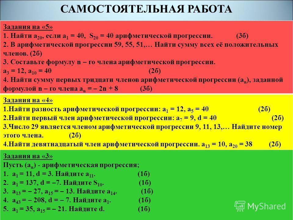 САМОСТОЯТЕЛЬНАЯ РАБОТА Задания на «5» 1. Найти а 20, если а 1 = 40, S 20 = 40 арифметической прогрессии. (3б) 2. В арифметической прогрессии 59, 55, 51,… Найти сумму всех её положительных членов. (2б) 3. Составьте формулу n – го члена арифметической