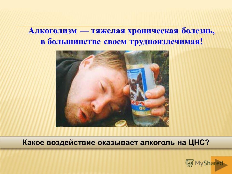 Алкоголизм тяжелая хроническая болезнь, в большинстве своем трудноизлечимая! Какое воздействие оказывает алкоголь на ЦНС?