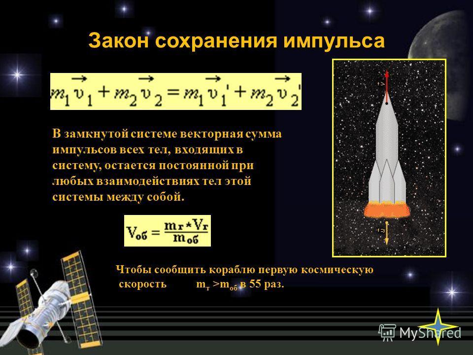 Закон сохранения импульса В замкнутой системе векторная сумма импульсов всех тел, входящих в систему, остается постоянной при любых взаимодействиях тел этой системы между собой. Чтобы сообщить кораблю первую космическую скорость m т >m об в 55 раз.