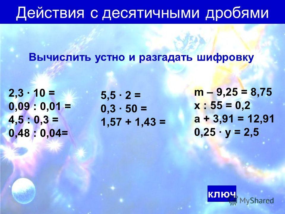 Действия с десятичными дробями Вычислить устно и разгадать шифровку 2,3 10 = 0,09 : 0,01 = 4,5 : 0,3 = 0,48 : 0,04= 5,5 2 = 0,3 50 = 1,57 + 1,43 = m – 9,25 = 8,75 х : 55 = 0,2 а + 3,91 = 12,91 0,25 у = 2,5 ключ
