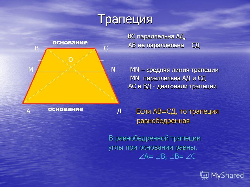 Трапеция ВС параллельна АД, ВС параллельна АД, АВ не параллельна СД АВ не параллельна СД МN – средняя линия трапеции МN – средняя линия трапеции MN параллельна АД и СД MN параллельна АД и СД АС и ВД - диагонали трапеции АС и ВД - диагонали трапеции Е
